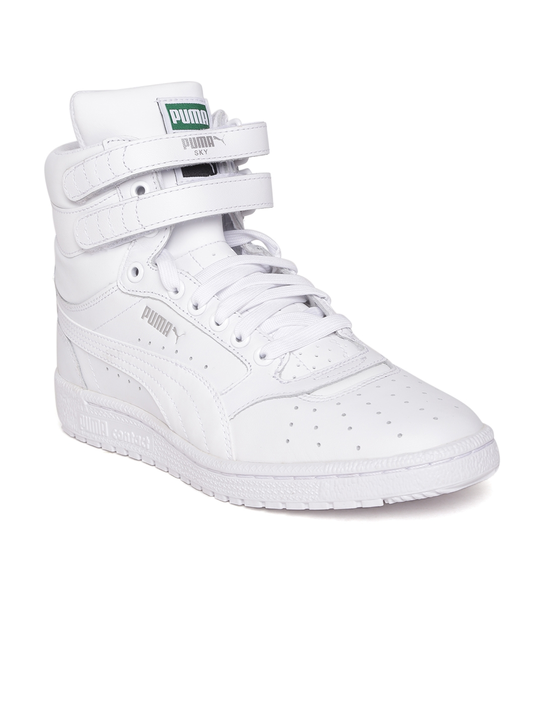 Buy PUMA Men White Sky II High Top Leather Casual Shoes - Casual ... 36881720d772
