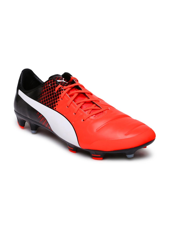 PUMA Men Neon Orange   Black evoPower 1.3 FG Printed Football Shoes