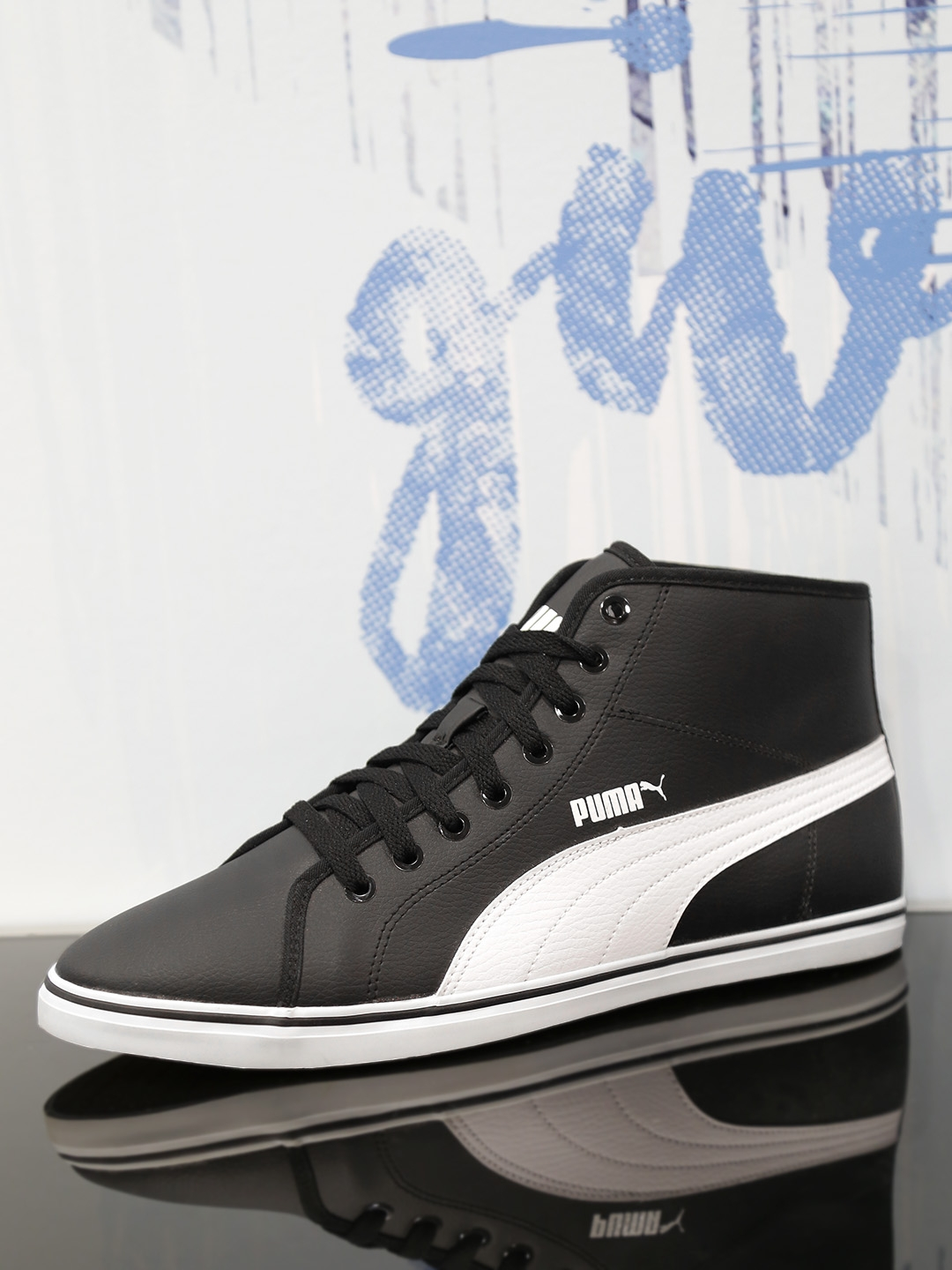 Buy PUMA Men Black   White Elsu V2 Mid SL IDP Sneakers - Casual ... 594777d59
