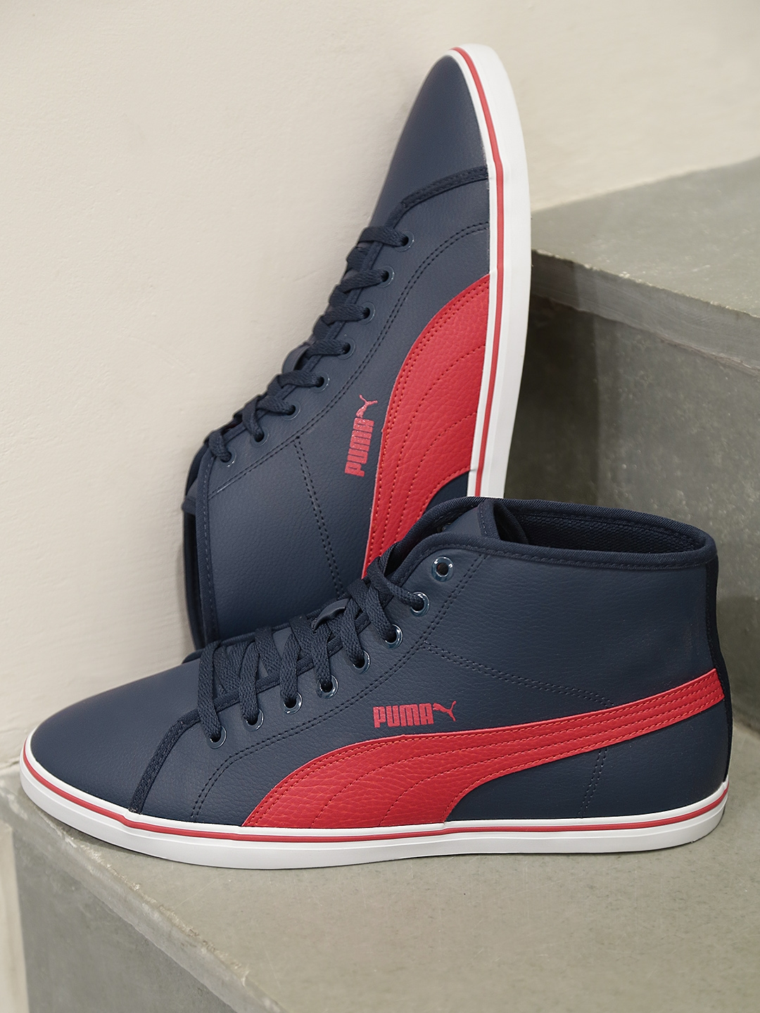 Buy PUMA Men Navy   Red Elsu V2 Mid SL IDP Sneakers - Casual Shoes ... dda81ffaf