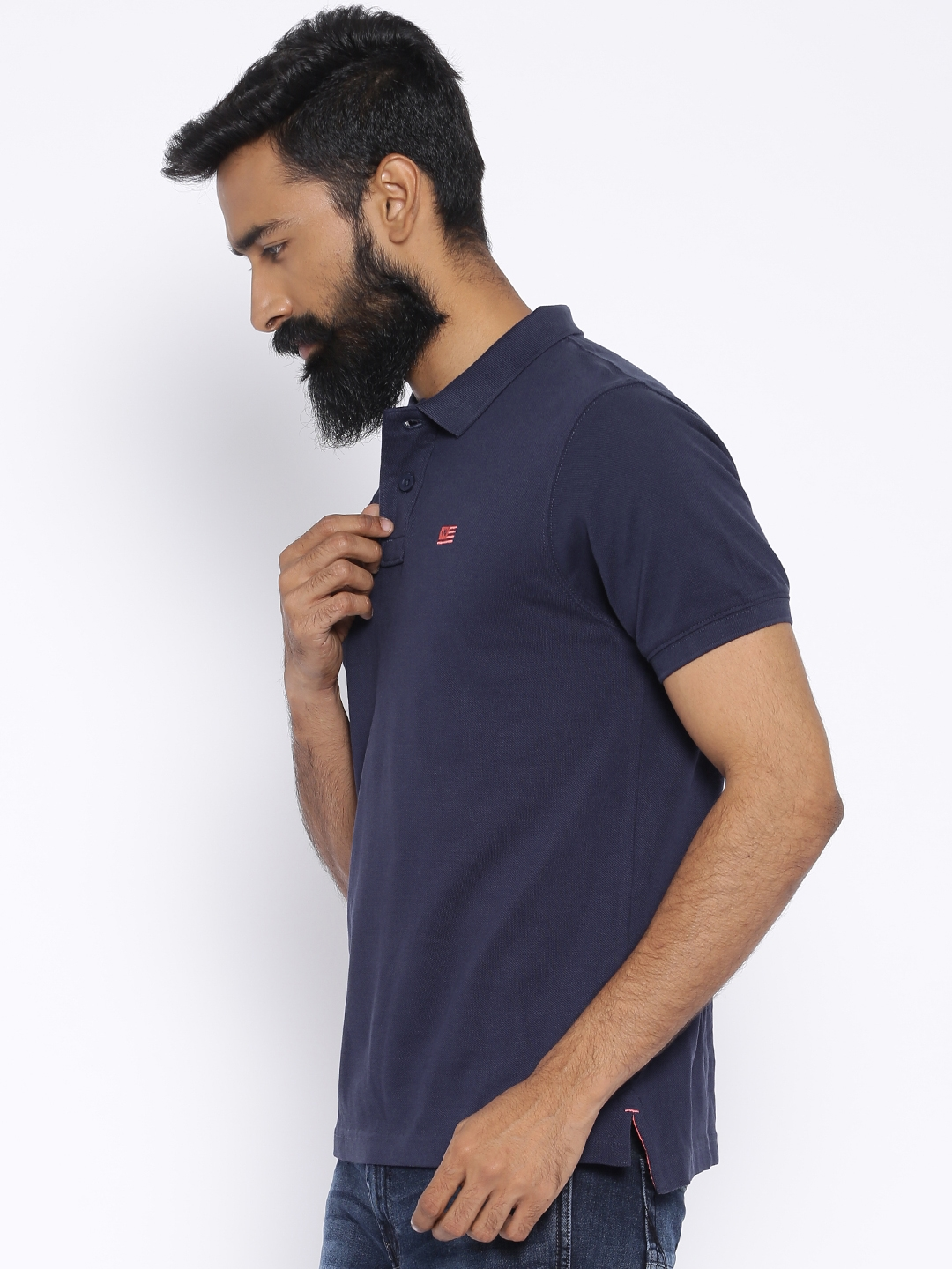 1a802bce Buy Wrangler Navy Polo T Shirt - Tshirts for Men 1436743 | Myntra