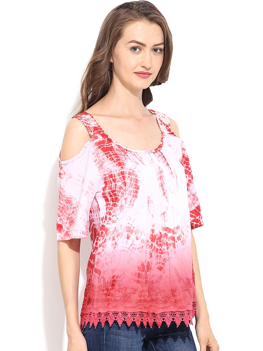 98d35fa035a104 Buy Free   Young White   Pink Tie Dyed Print Cold Shoulder Top ...