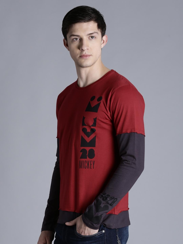 90a0f0cbf04 Buy Kook N Keech Disney Men Maroon   Charcoal Grey Printed T Shirt ...