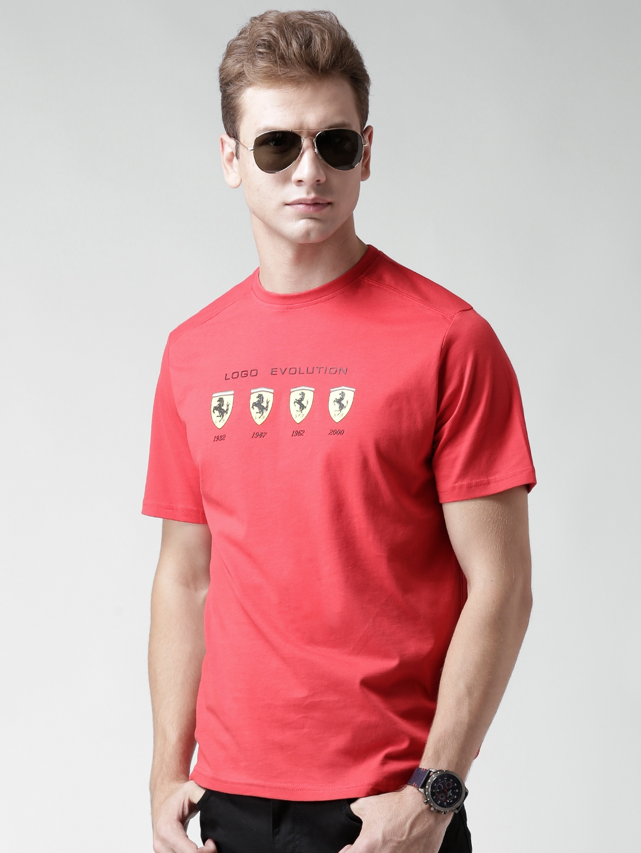9e0466c8 Buy Ferrari Scuderia Coral Red Logo Evolution Print T Shirt ...