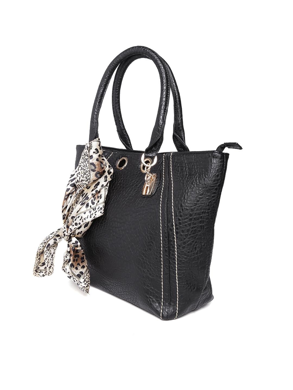 Buy Red Pout Black Shoulder Bag With Animal Print Scarf Handbags