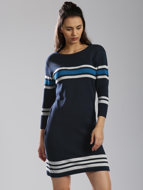 079d3bd75431 Buy HRX By Hrithik Roshan Women Navy Striped Sweater Dress - Dresses ...