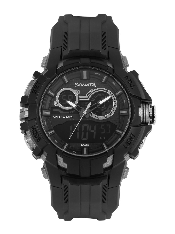 Sonata Men Black Analogue   Digital Chronograph Watch 77045PP02