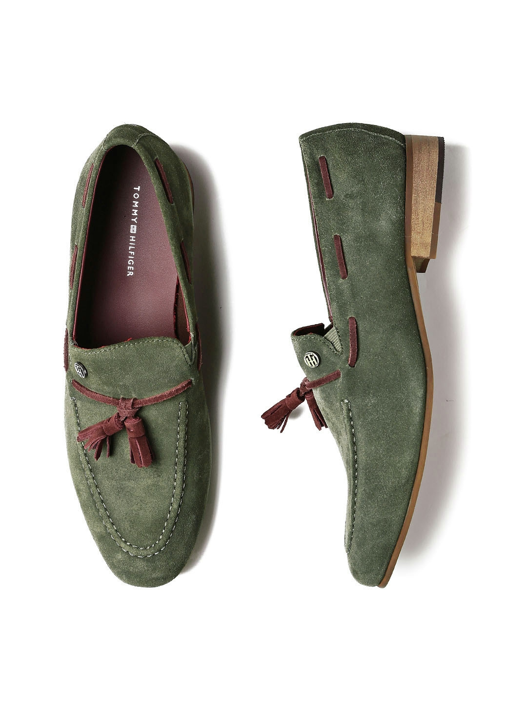 bce03e2ce486 Buy Tommy Hilfiger Men Olive Green Suede Loafers - Casual Shoes for ...