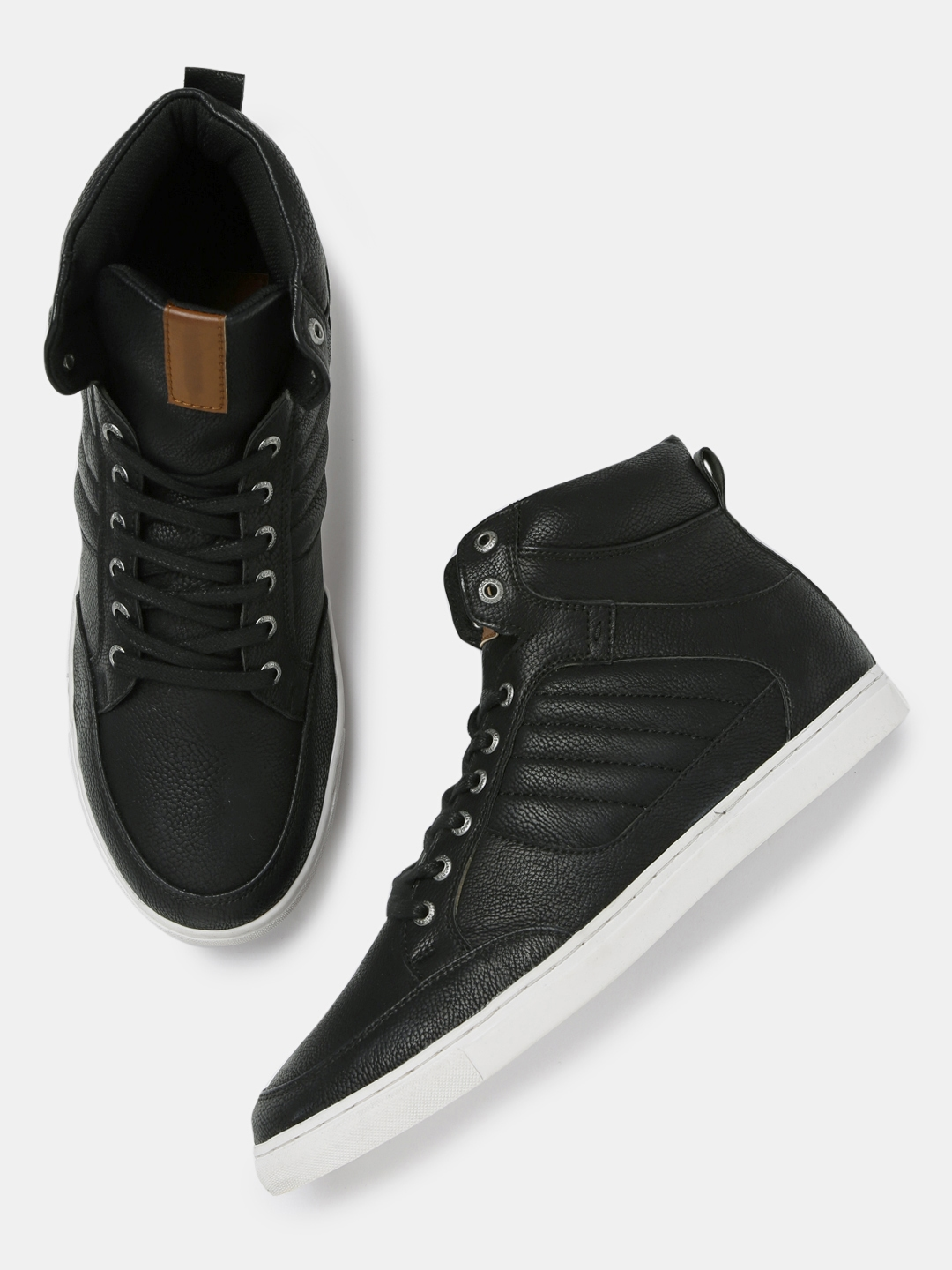 d95d259d97e Buy Roadster Men Black Textured Mid Top Sneakers - Casual Shoes for ...