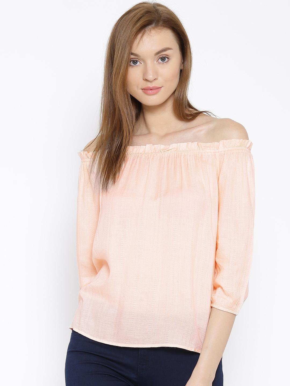 eb04d034bca62e Buy Vero Moda Peach Coloured Patterned Off Shoulder Top - Tops for ...
