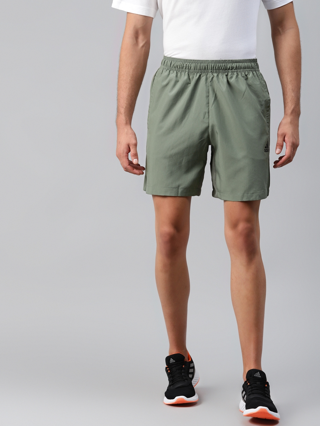 ADIDAS Men Olive Green Woven Solid Mid Rise Sports Shorts
