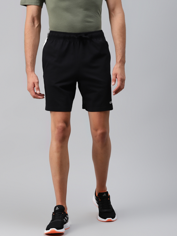 ADIDAS Men Black E 3S Solid Mid Rise Sports Shorts