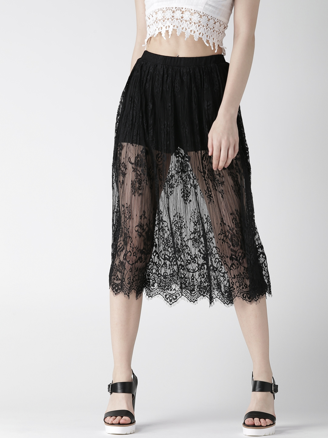 9f0d6f653f85 Buy FOREVER 21 Black Lace Midi Skirt - Skirts for Women 1451065