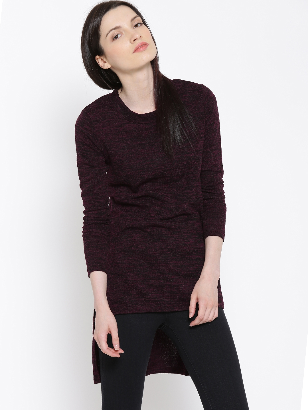 24ccb29fced Buy IZABEL LONDON By Pantaloons Burgundy High Low Sweater - Sweaters ...