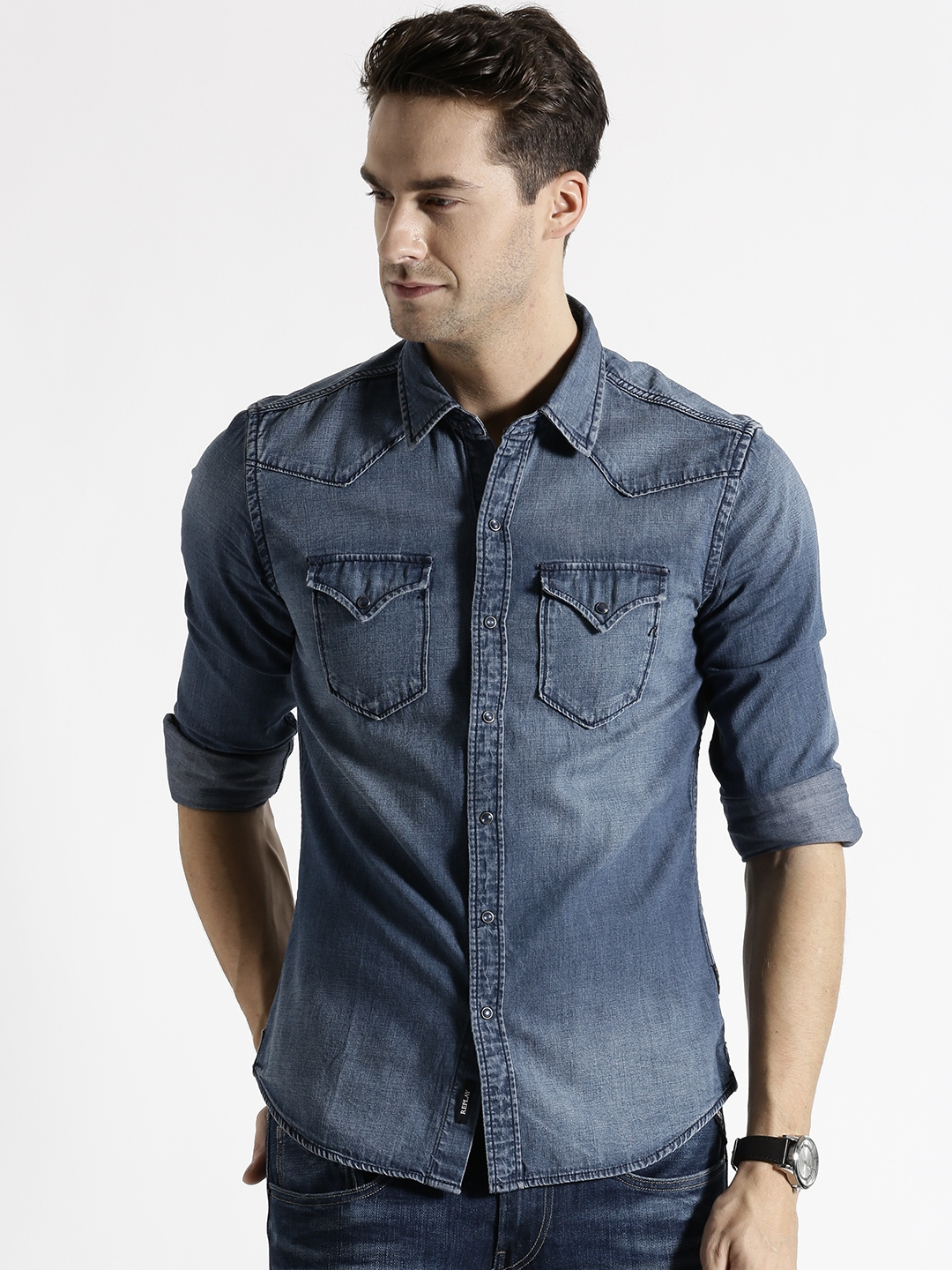 9cf2477bc34 Buy Replay Blue Washed Denim Shirt - Shirts for Men 1452415