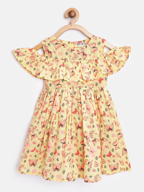 Bella Moda Girls Yellow   Pink Butterfly Print Fit   Flare Dress