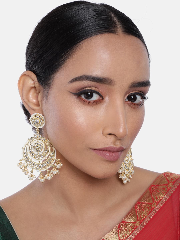 I Jewels Gold Plated Crescent Shaped Kundan   Pearl Chandbalis Earrings