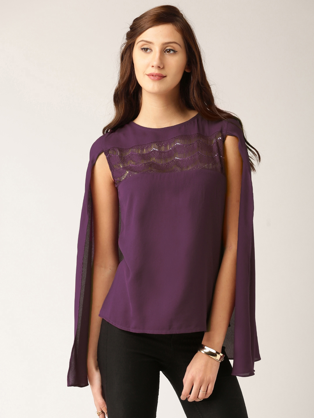 40ed692f6d3 Buy All About You From Deepika Padukone Women Purple Solid Cape Top ...