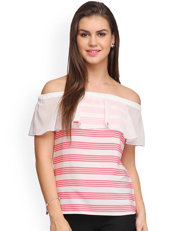 42ed6bff833c3f Buy Eavan White   Pink Striped Off Shoulder Crepe Top - Tops for ...