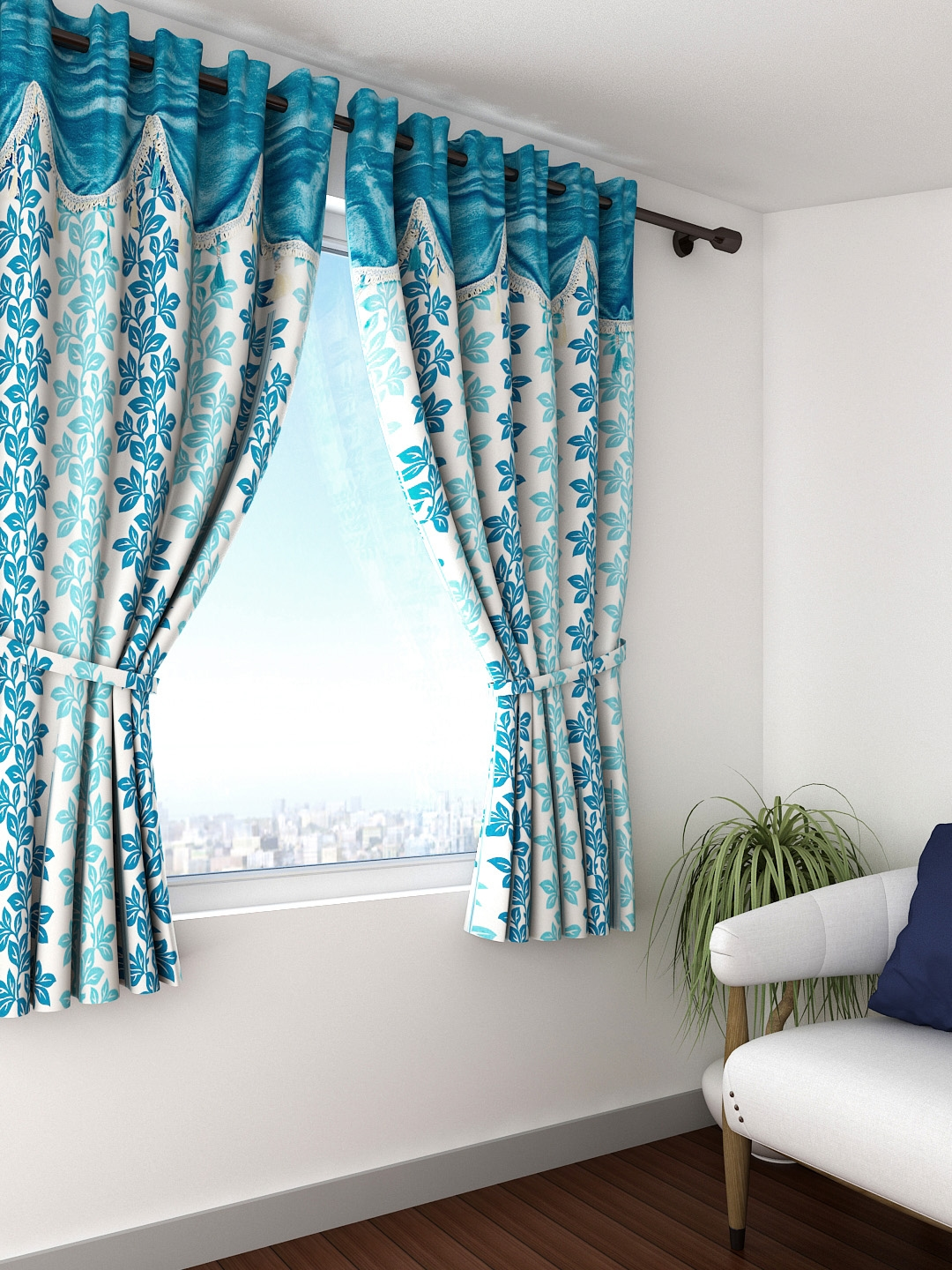 Buy Cortina Set Of 2 Off White Blue Printed Room Darkening Window Curtains Curtains And