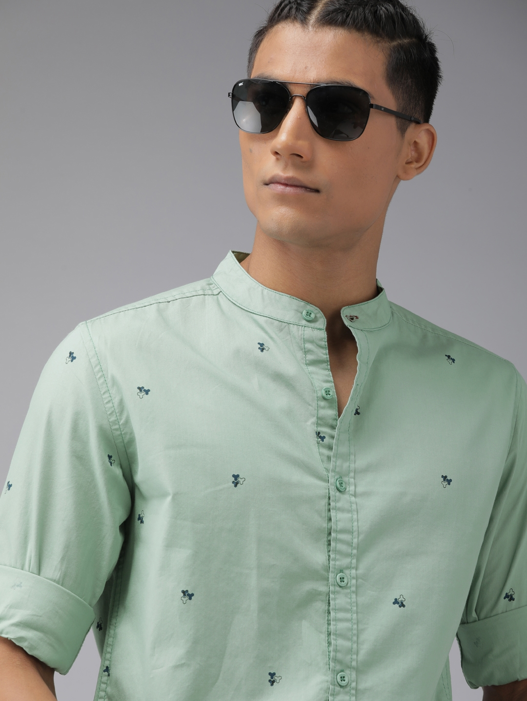 Roadster Men Green   Black Printed Casual Shirt