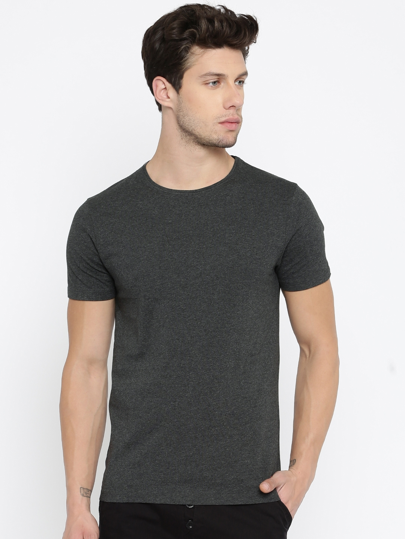 Buy Jack Jones Men Charcoal Grey Self Design T Shirt Tshirts For