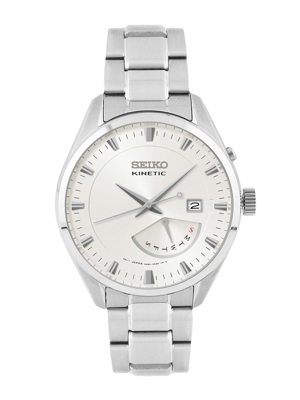 SEIKO KINETIC Men Silver-Toned Motion Dial Watch SRN043P1