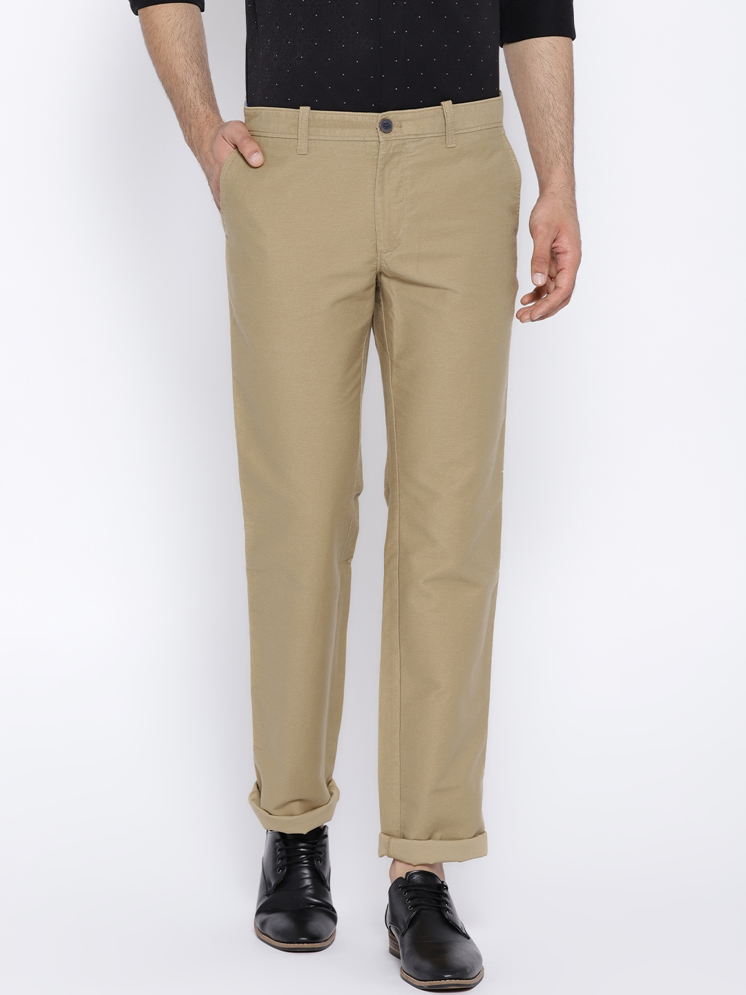 ebbd6c71a Indian Terrain Men Khaki Solid Kansas Regular Fit Flat-Front Trousers