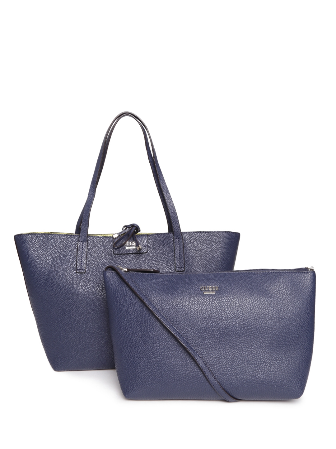 e41fa889a5c1 Buy GUESS Navy   Lime Green Textured Reversible Tote Bag With Sling Bag -  Handbags for Women 1468007
