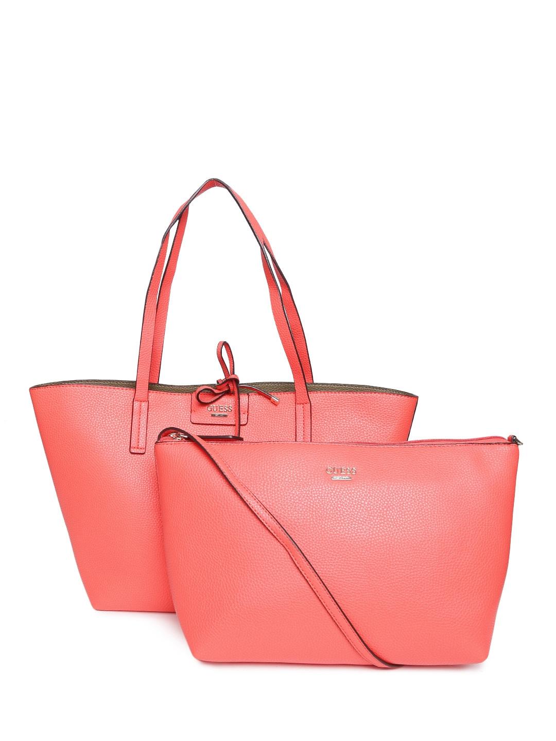 6afa51f13609 Buy GUESS Coral Red   Olive Green Textured Reversible Tote Bag With Sling  Bag - Handbags for Women 1468008