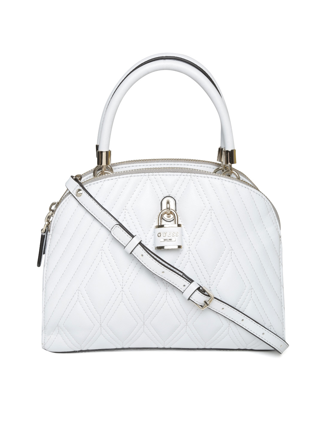 Buy GUESS White Quilted Handbag With Sling Strap Handbags for b863702b82b90