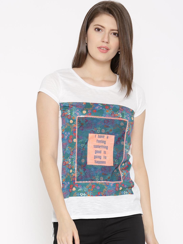 7014045b33d279 Buy Honey By Pantaloons Women White Printed Round Neck T Shirt ...