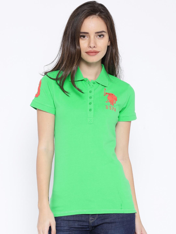 78b3bf2b6684 Buy U.S. Polo Assn. Women Green Poo T Shirt - Tshirts for Women ...