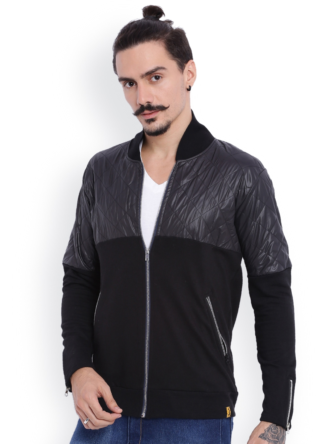 ccfadb0e2 Buy Campus Sutra Black Bomber Jacket With Quilted Detail - Jackets ...