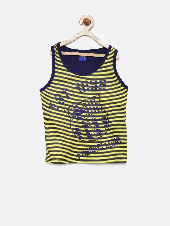 2b3ab56cc Buy FC Barcelona Boys Navy   Yellow Striped Polyester Sleeveless T ...