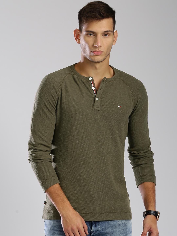 1be5600a Buy Tommy Hilfiger Men Olive Green Solid Henley Neck T Shirt ...