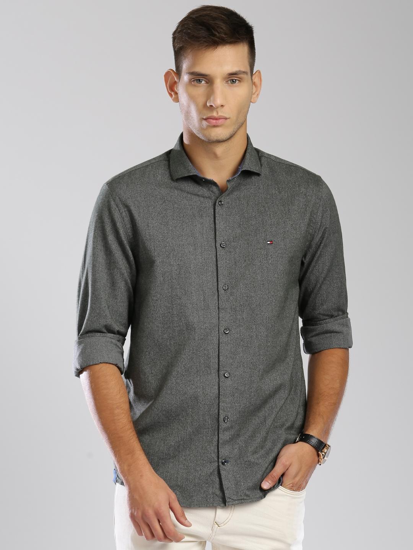 f2abf01c0 Buy Tommy Hilfiger Men Olive Green Regular Fit Solid Casual Shirt ...