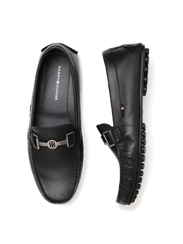 2b0b715af8b2c1 Buy Tommy Hilfiger Men Black Textured Leather Loafers - Casual Shoes ...