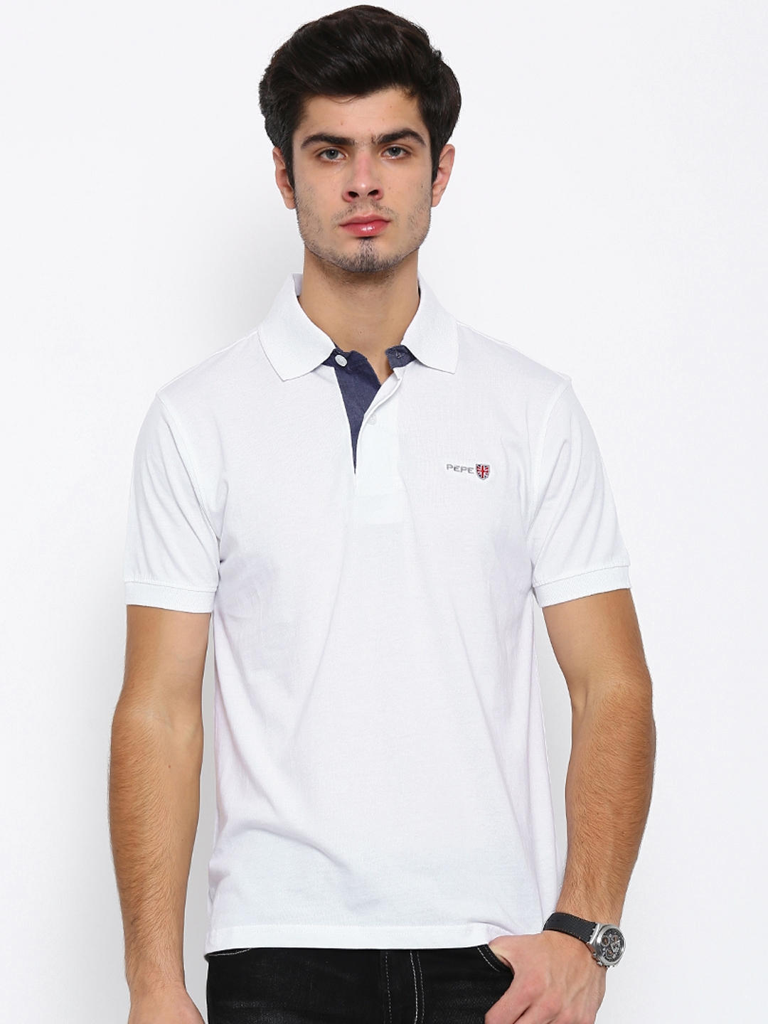 20d1ab45855 Buy Pepe Jeans Men White Solid Polo T Shirt - Tshirts for Men ...