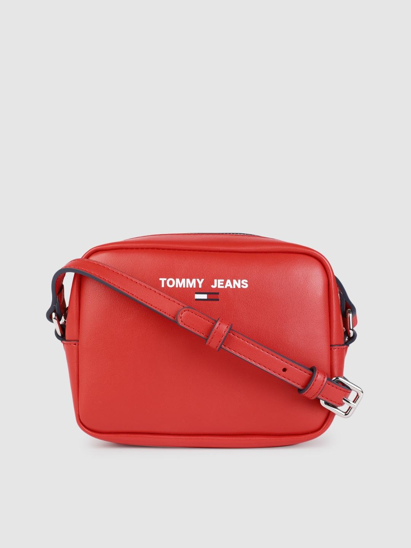Tommy Hilfiger Red Structured Camera Sling Bag