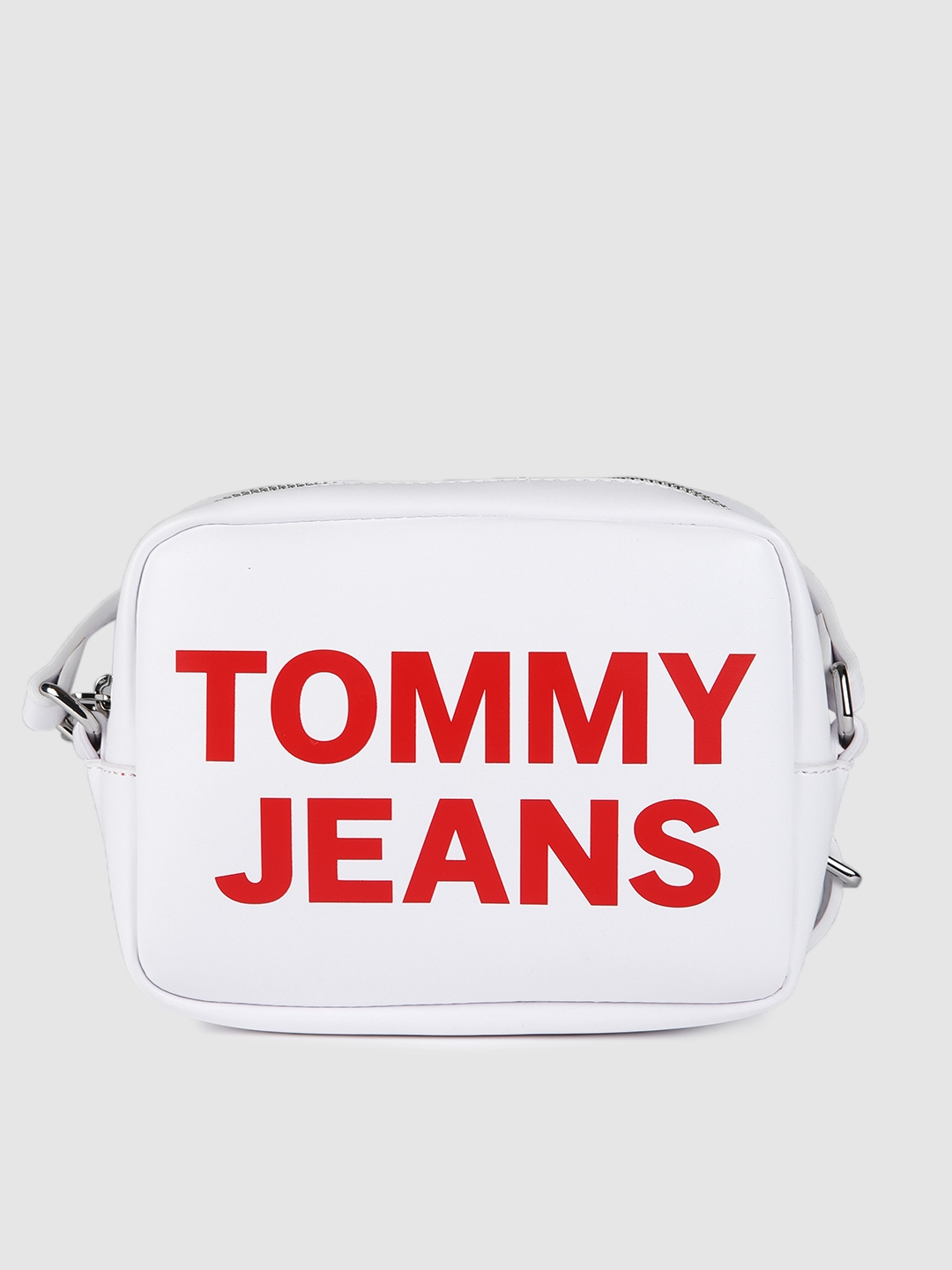 Tommy Hilfiger White Typography Printed PU Camera Bag
