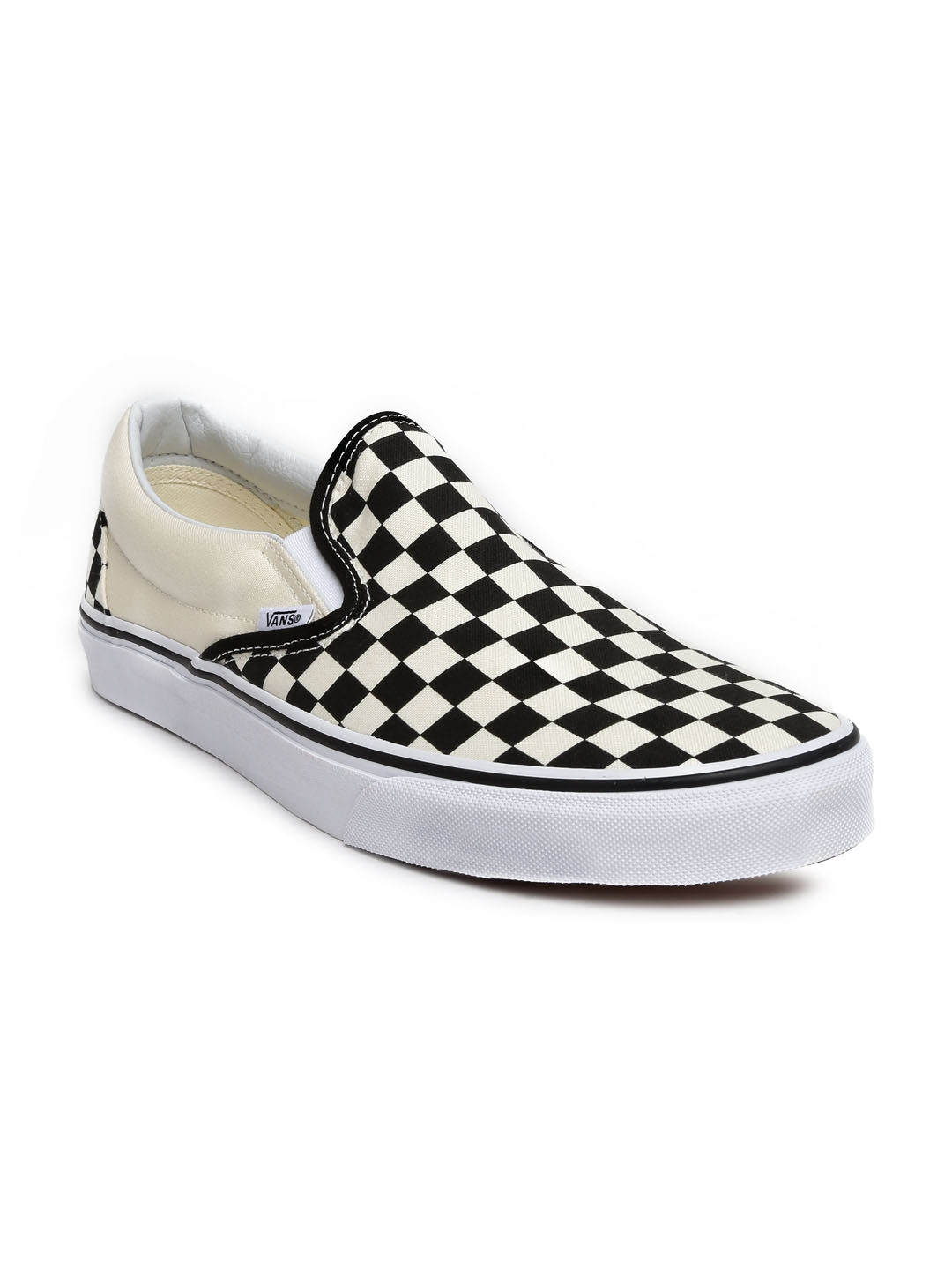 3f570242e89 Buy Vans Men Black   Off White Checked Classic Slip On Sneakers ...