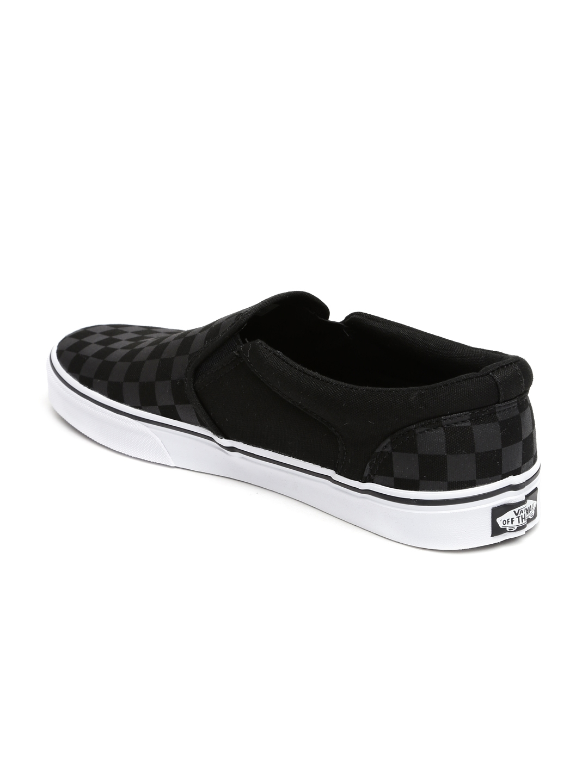 d7cbb460d1 Buy Vans Men Black   Grey Checked Asher Slip On Sneakers - Casual ...