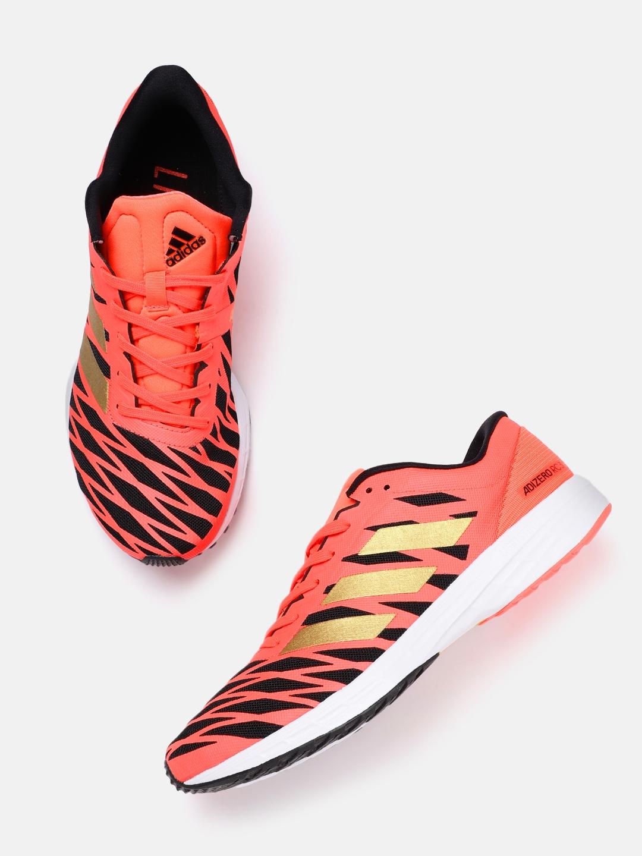 ADIDAS Men Coral Orange   Black Striped Adizero RC 3 Running Shoes