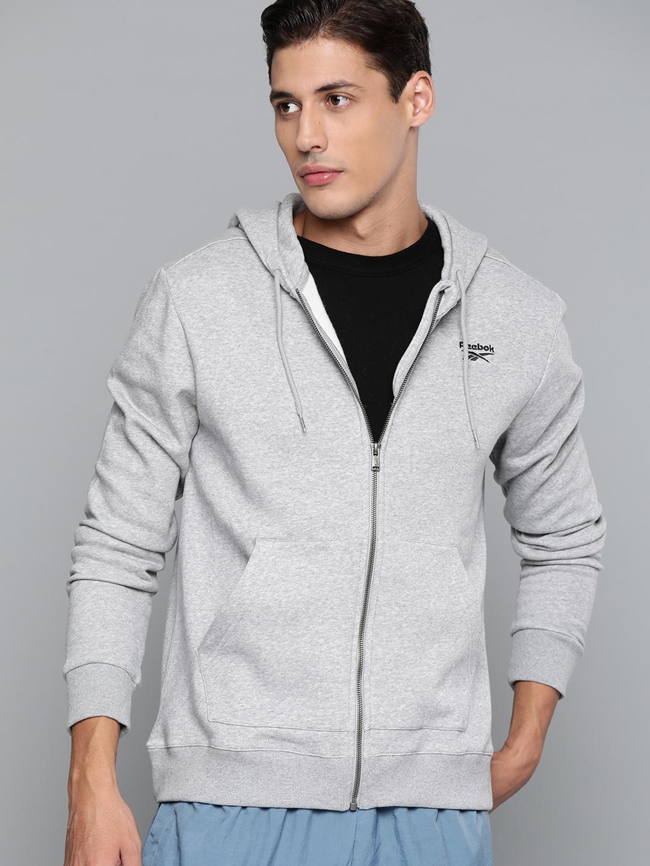 Reebok Men Grey Melange Solid Sporty Jacket