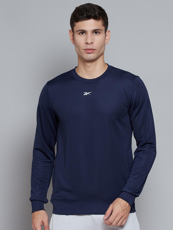 Reebok Men Navy Blue Solid Vector Sweatshirt