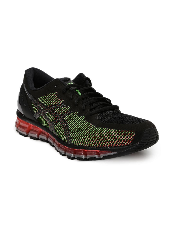 new product 1810d 3e0b1 ASICS Men Black   Neon Pink Gel-Quantum 360 2 Running Shoes