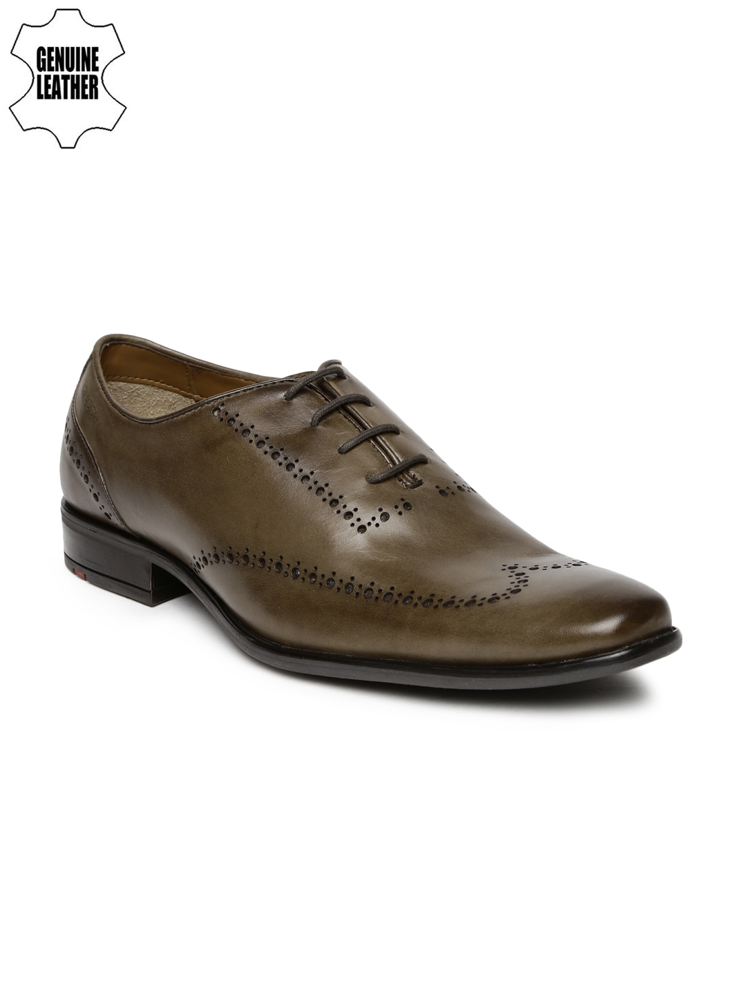 ea6f3a514168 Buy Ruosh Work Men Olive Green Genuine Leather Semiformal Brogues ...