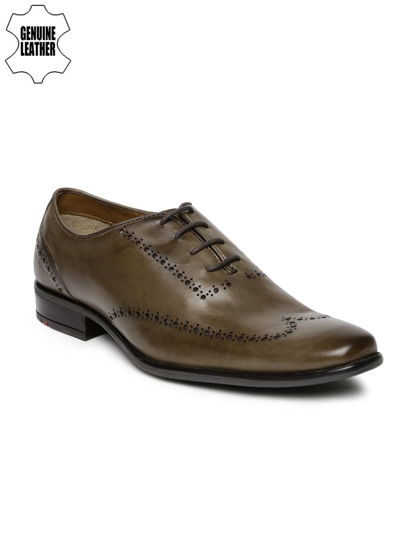 ea6f3a514168 Buy Ruosh Work Men Olive Green Genuine Leather Semiformal Brogues ...