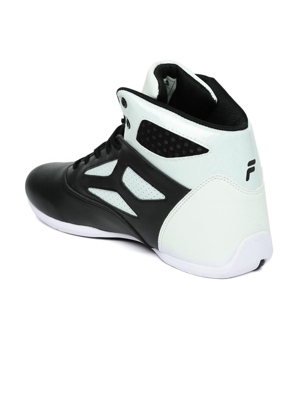 35452c3b2487 Buy FILA Men Black   White Rim Loop Perforated High Top Basketball Shoes -  Sports Shoes for Men 1481100